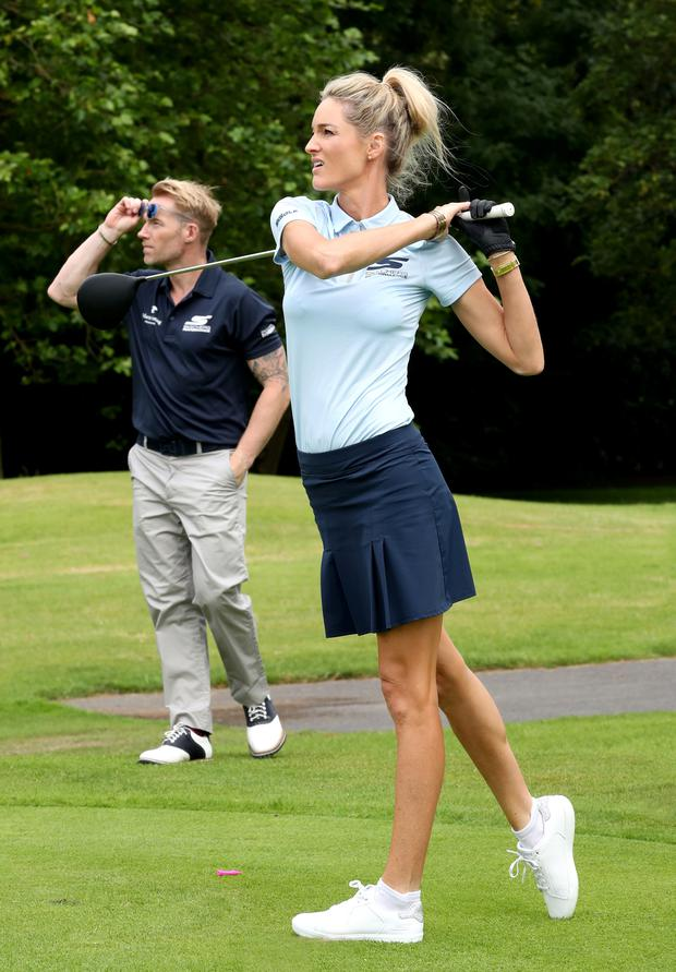 Golf classic: Storm and Ronan Keating at the K Club in Co Kildare yesterday. Photo: Jason CLarke