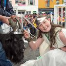 Royalty: Queen of Puck Fair Maeve McCarthy (12) crowns King Puck on Gathering Day. Photo: Dan MacMonagle