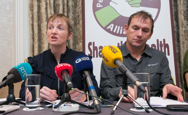 Vera with Gino Kenny TD during a press conference on their campaign for medicinal cannabis. Photo: Gareth Chaney