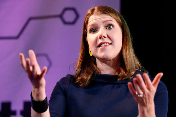 Leader of the Liberal Democrats Jo Swinson gestures as she delivers a keynote speech on Brexit in London yesterday. Photo: Getty