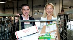Garret Bridgeman, Managing Director of An Post Mails & Parcels and Helen McEntee, the Minister for European Affairs. Photo: Maxwells