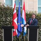 No show: Prime Minister of Luxembourg Xavier Bettel goes ahead with a press conference yesterday despite Boris Johnson not joining him. Photo: Reuters