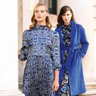 Versatile: Highlights of the new M&S Collection for autumn/winter include this blue print satin dress (€88), royal blue coat (€140) and floral dress (€60). Photos: Kieran Harnett