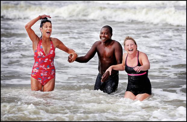 Lucy Ironside from Spanish Point with Anwar Hassan from Chad and Lorna Cahill (right) from Miltown Malbay. Photo by Steve Humphreys