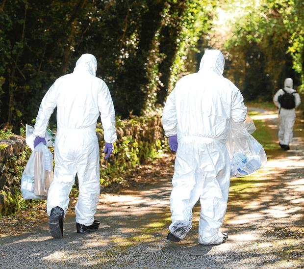 Investigation: Members of the PSNI near a laneway leading to the home of Kevin Lunney, in Co Fermanagh. Picture credit: Damien Eagers