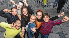 Fun: Pupils from Canal Way Educate Together school in Dublin 8 gathered in Meeting House Square for Culture Night. Photos: Doug O'Connor; Maxwells; Darragh Kane