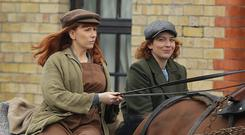 Catherine Tate, left, and Katherine Parkinson, filming in Stoneybatter in Dublin. Picture: Damien Eagers