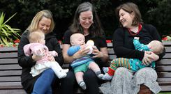 Mums know best: Left to right is Carol Wharton with baby Ella Beth Wharton (nine months), Louise O'Connor with baby Brendan Reddy (six months) and Monica Ui Duill with baby Liam O Duill (11 months) at the mychild.ie launch. Photo: RollingNews.ie