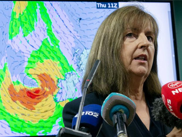 02/10/2019. National Emergency Co-ordination Group (NECG) - Press brief. Pictured Head of Forecasting at Met Éireann Evelyn Cusack briefing the media ahead of storm Lorenzo as it progresses across the Atlantic. Photo: Sam Boal/Rollingnews.ie