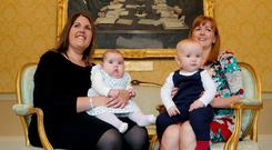 State backing: Celine Kelly and Ciara Conor (4 months) and Sarah Murnaghan and Daniel McGuinness (10 months). photo: Maxwells