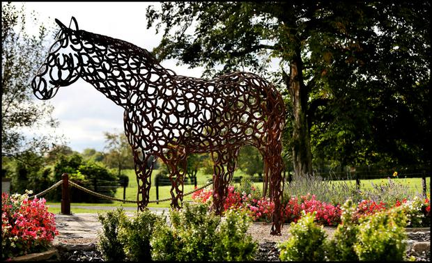 A sculpture of a horse made from horse shoes in Glaslough village.