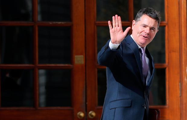 Greeting: Finance Minister Paschal Donohoe at Government Buildings in Dublin yesterday on his way to delivering Budget 2020. photo: pa