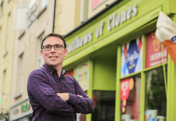 Fear factor: Clones shop owner Eamon McCaughey is concerned about effects of a hard Brexit. PHOTO: GERRY MOONEY
