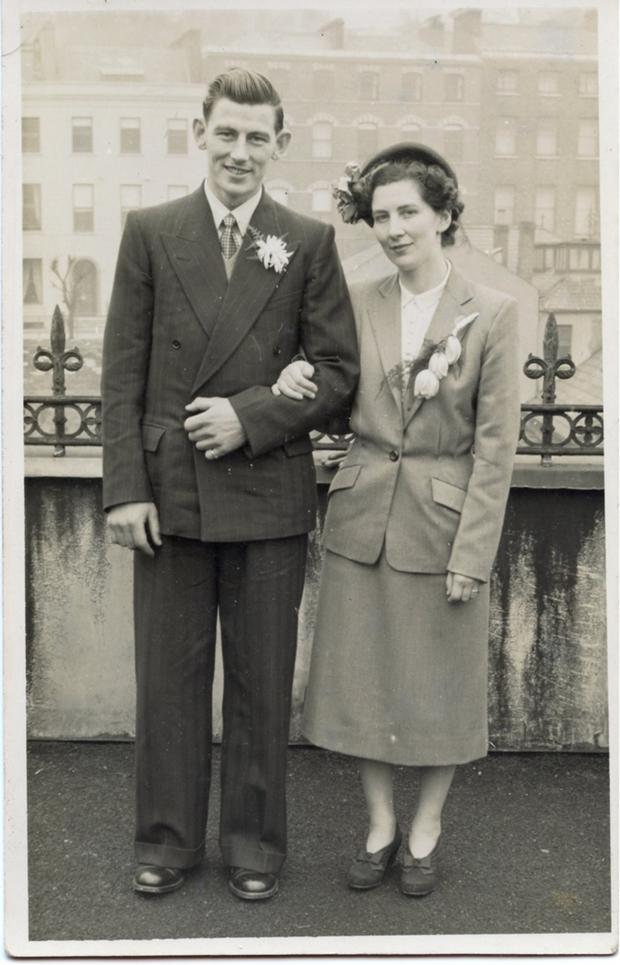 Enduring love: James and Patricia Skinner, Mitchelstown, on their wedding day in 1951