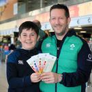 Bound for Japan: Brian Brophy (left) with his son Max (12) from Skerries. Photo: Frank McGrath