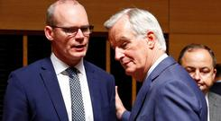 In action: Simon Coveney with EU's Chief Brexit Negotiator Michel Barnier this week
