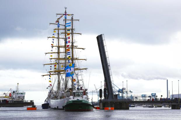 Flying the flags: The Libertad is a colourful sight as it sails into Dublin. Photo: SON Photography