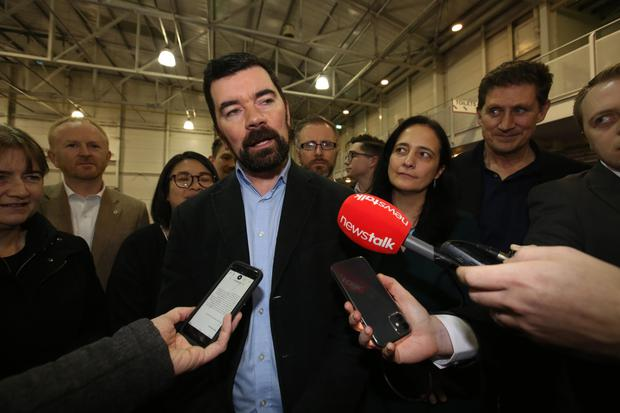Winner: The Green Party's Joe O'Brien speaks at the National Show Centre after taking the Fingal seat. Photo: Sam Boal/Rollingnews.ie