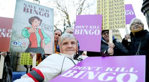 Numbers up: Kathleen Reynolds of Blanchardstown, at a protest outside Dáil Éireann against legislation which they say will shut every bingo hall in the country. Photo by Maxpix