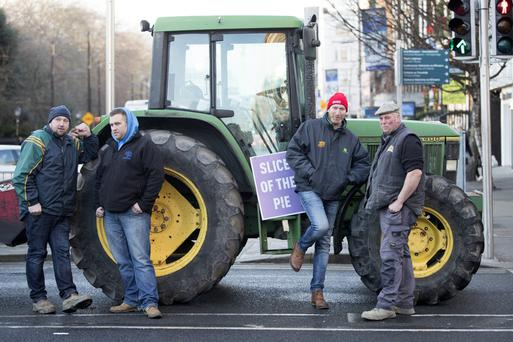 Price beef: The protest that closed roads in Dublin city centre yesterday. Photo: Arthur Carron