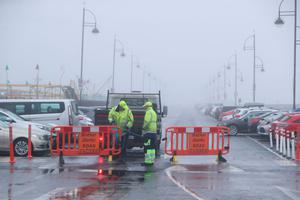 The strand in Tramore is closed due to the weather. Photo: Niall Carson/PA Wire