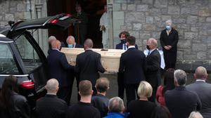 The remains of Paddy Moloney, founder member of The Chieftains, arrive for his funeral mass at St Kevin's Church in Glendalough, Co Wicklow. Picture: Colin Keegan/Collins