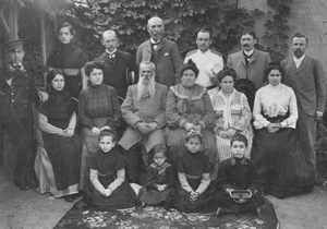 Foreign correspondent: Michael Davitt (centre, back) with a Jewish family in Kishinev, 1903 Photo: courtesy Board of Trinity College, Dublin