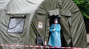 A pop-up Covid-19 testing centre that dealt with outbreaks in Kildare last year. Photo: Niall Carson