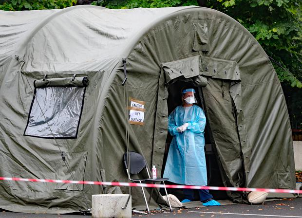 A pop-up Covid-19 testing centre that dealt with outbreaksin Kildare last year. Photo: Niall Carson
