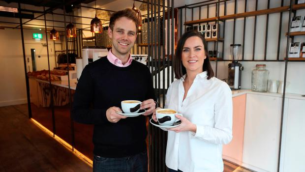 Cashless: Husband and wife team Stephen and Ruth Deasy of Bear Market Coffee, which has stopped taking cash at its South Great Georges Street branch in Dublin