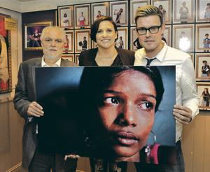 JUSTICE FIGHT: At the launch of 'Taken' were Danny Smith, founder of the Jubilee Campaign, Hazel Thompson, author of 'Taken', and Marc Carey, holding a picture of one of the victims