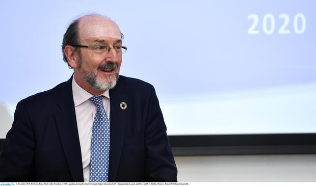 Professor Brian MacCraith, President of DCU, speaking during the Electric Ireland Higher Education GAA Championships Launch and Draw at DCU, Dublin. Photo by Piaras Ó Mídheach/Sportsfile