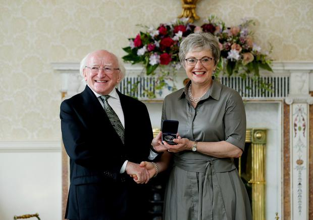 Katherine Zappone receives her Seal of Office from President Michael D Higgins