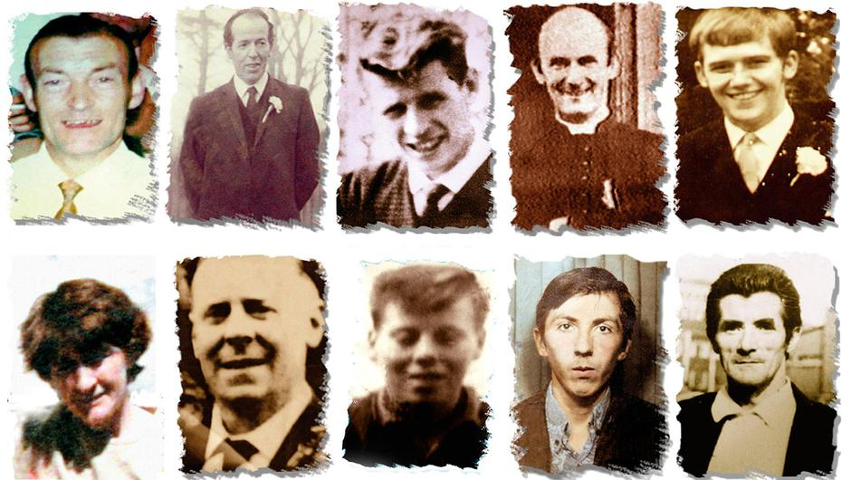 INNOCENT: Ten of the 11 Ballymurphy victims (top, from left) Joseph Corr, Danny Taggart, Eddie Doherty, Father Hugh Mullen, Frank Quinn and (above, from left) Paddy McCarthy, John McKerr, Noel Philips, John Laverty and Joseph Murphy