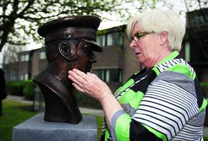 Sheila Stack wife of the late Chief Officer Brian Stack with the bronze bust after being unveiled at the Prison Service College, Portlaoise by Minister for Justice Equality and Defence Alan Shatter TD.   Picture: Alf Harvey/hrphoto.ie supplied from the Irish Prison Service