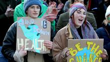 Sophie Pettus and Sarah Kinnen taking part in the climate march in Galway yesterday