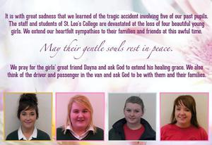 St Leo's tribute to the four young women who died.
