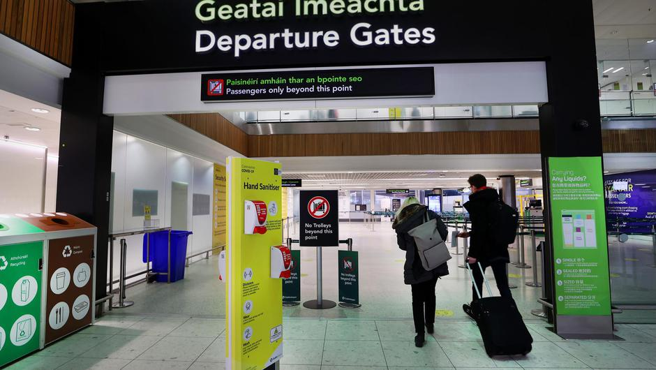 Passengers leaving the Departures Gate at Terminal 1 at Dublin Airport