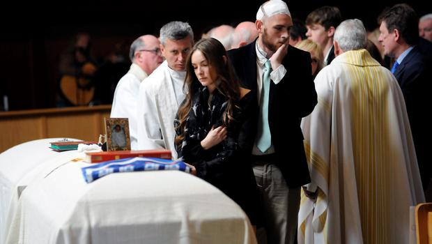 Amanda Donohoe at the funeral service at the weekend for her sister Ashley Donohoe