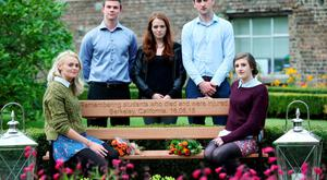 UCD students Danielle Curtis, Patrick Shortt, Claire O'Connor, Marcus O'Halloran and Hazel Beatty at the unveiling of the bench