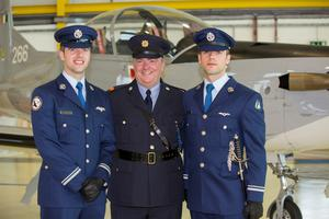 Dundalk based Garda Inspector Brian Mohan with his twin sons Eugene and Frankie who are the first twins to serve as Aircorps pilots. Pictured at Frankie's commissioning of Military Pilots Wings and Presidential Commissions at a Ceremony in the Air Corps Headquarters in Casement Aerodrome, Baldonnel