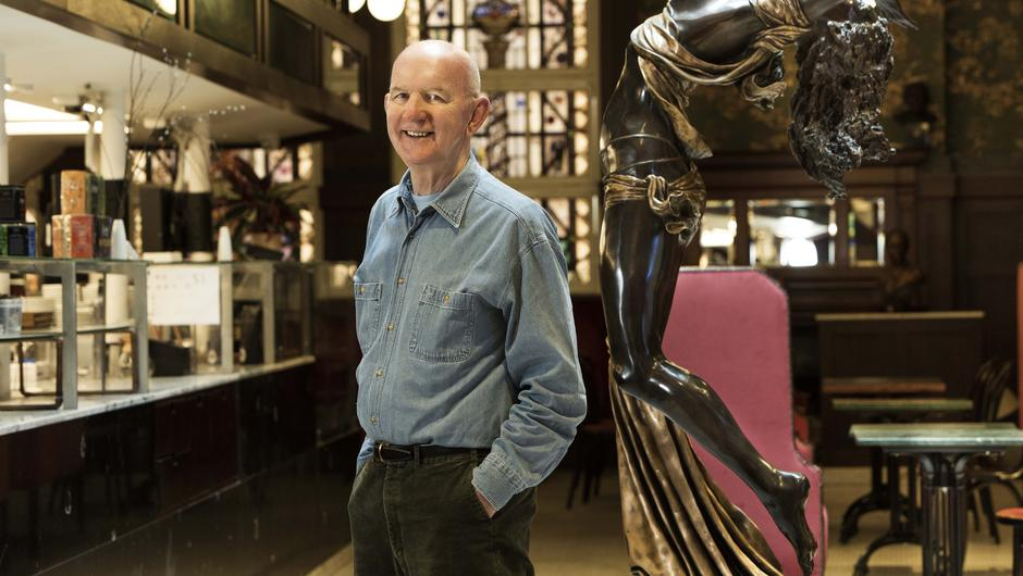 Retiring: Owner Paddy Campbell with one of his works in Dublin's Bewley's Cafe. Photo: Eugene Langan