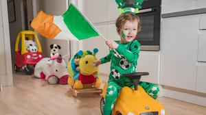 Flying the flag: Adam Weldon from Dublin gears up for the St Patrick's Day Festival virtual parade