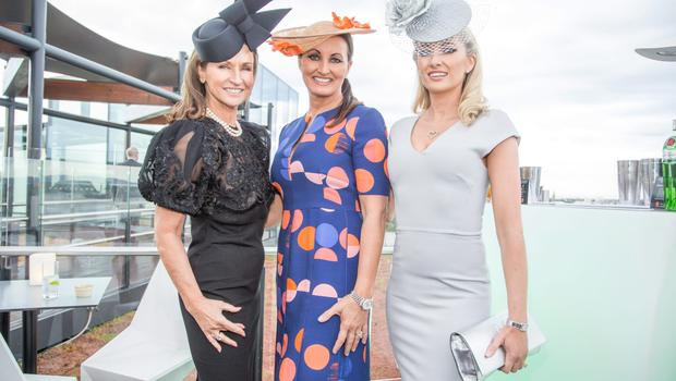 Celia Holman Lee, Annette Rocca & Jane Given at The Marker hotel for the launch of the 2015 Dubai Duty Free Irish Derby