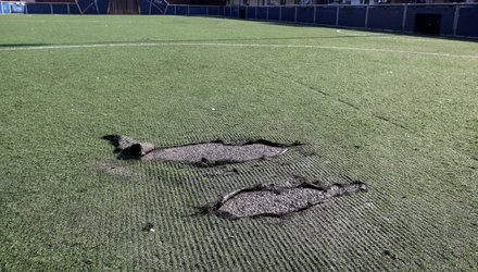 Criminal: Damage to the artificial sports pitch at the Oliver Bond complex in Dublin. Photo: Mark Condren