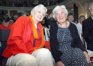 Angela Lansbury with Myrtle Allen of Ballymaloe House at the screening of 'Driving Miss Daisy' at the Grainstore, Ballymaloe, last night. Picture: Provision