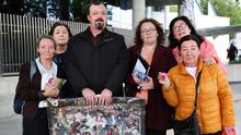 Patricia O'Connor's son Richard O'Connor and wife Martina O'Connor (centre) with Patricia's co-workers (from left) Breda Wosser, Kim Bermingham, Sandra Flynn and Josie Dunne, who brought a photo montage of the victim to court. Picture: Steve Humphreys