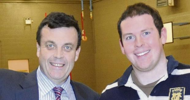 BATTLES: Tom Lenihan, right, who battled depression, pictured with his late father, former Finance Minister Brian