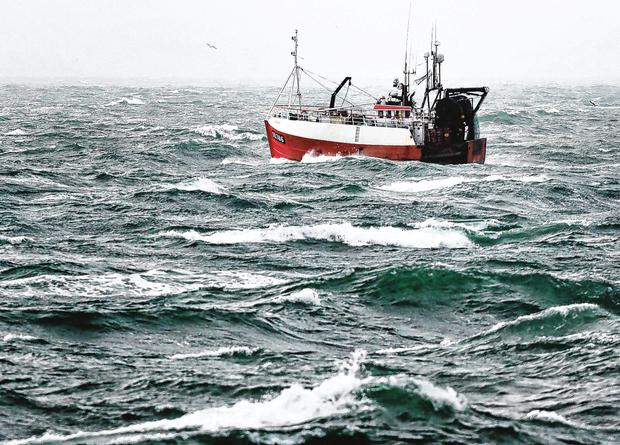 Fishing vessels taking part in the search for the missing fisherman off Hook Lighthouse in Co Wexford. Picture: Steve Humphreys