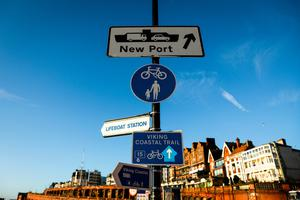 Transport difficulties: A road sign directs traffic to the Port of Ramsgate in England. Photo: Simon Dawson/Bloomberg